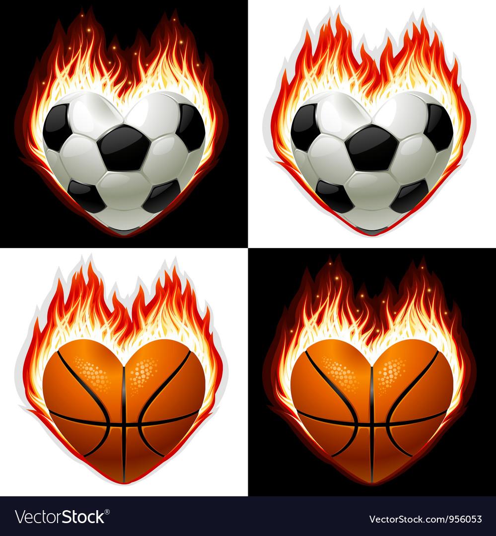 Football basketball ball on fire