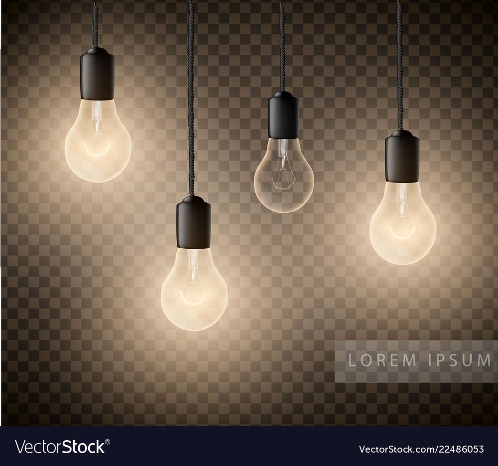 Glowing Light Bulbs Set Of Hanging Lights On A