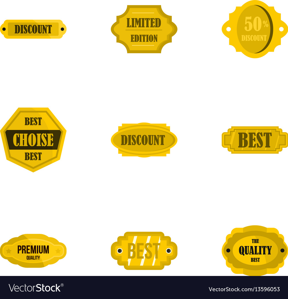 Golden sale badge icons set flat style