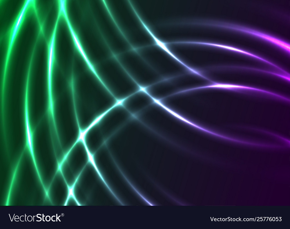 Green Violet Neon Shiny Waves Abstract Background