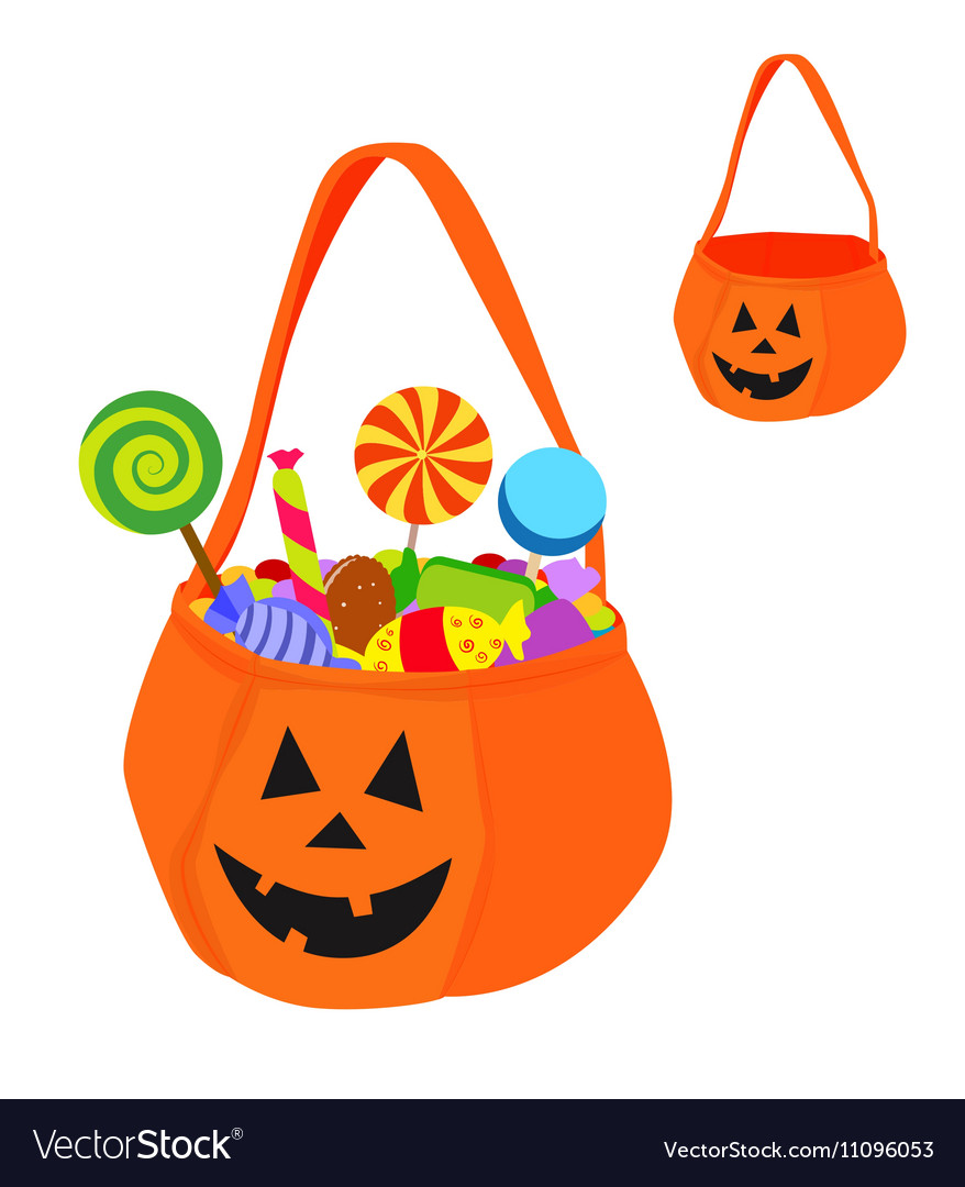 Halloween bag full of sweets and empty
