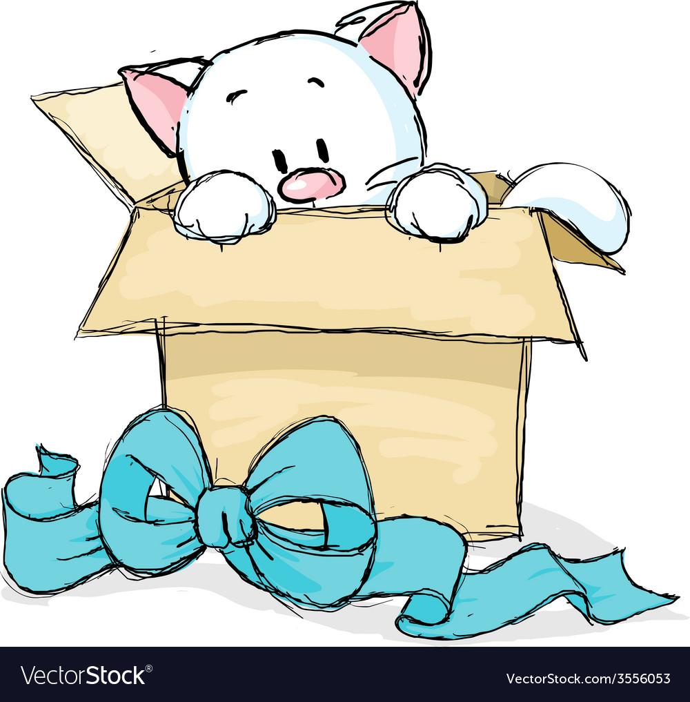 Kitten peeking out of a gift box