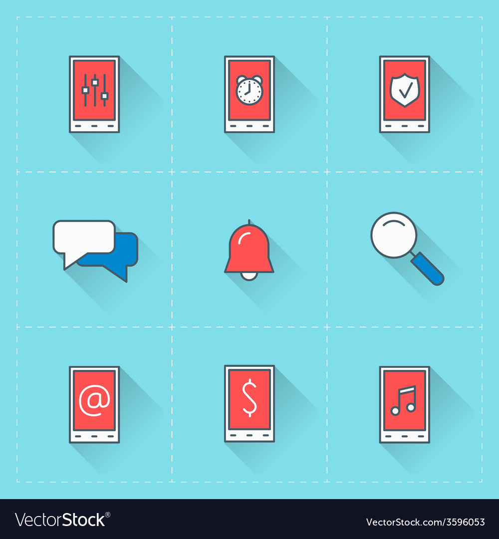 Mobile phone icons icon set in flat design style