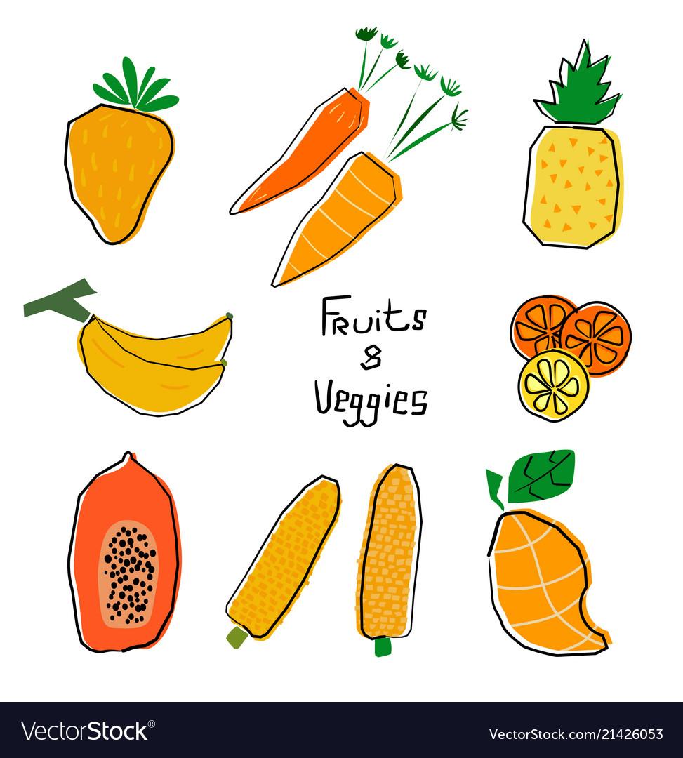 Orange and yellow cartoon fruits and veggies set