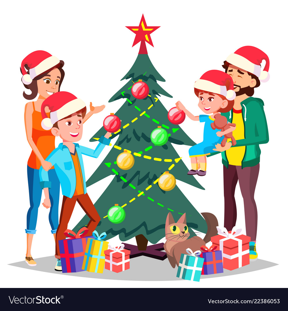 Toddler Christmas Tree Costume.Parents With Children Decorating A Christmas Tree