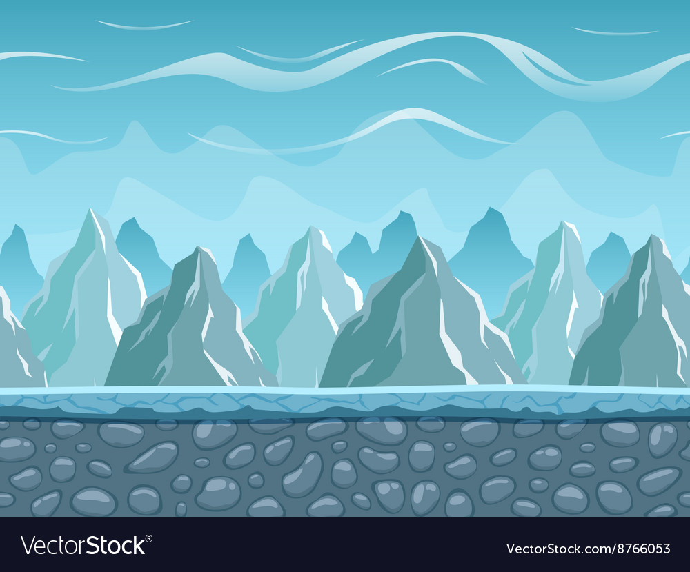 Seamless cartoon landscape with mountains