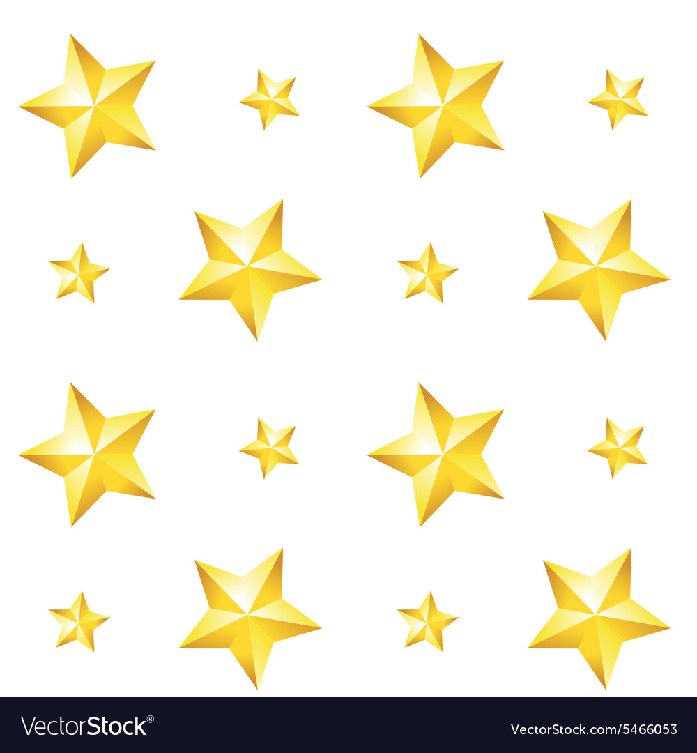 Seamless pattern with a gold star on a white vector image