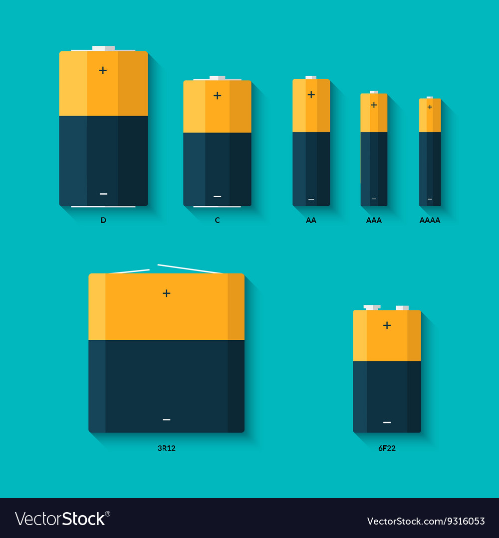 Set of batteries of different sizes AAAA AAA D vector image