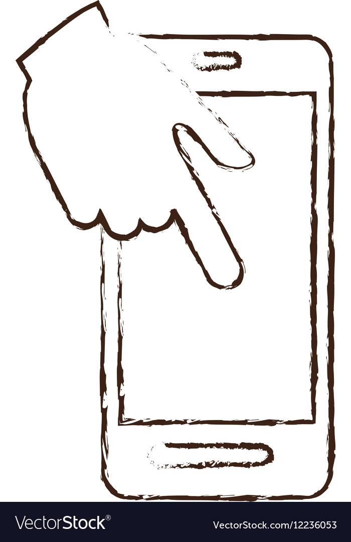 Smartphone hand touch payment digital sketch