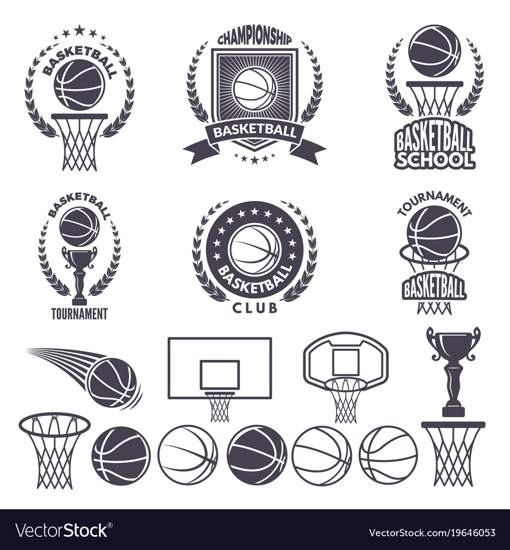 Sport logos with basketball monochrome pictures