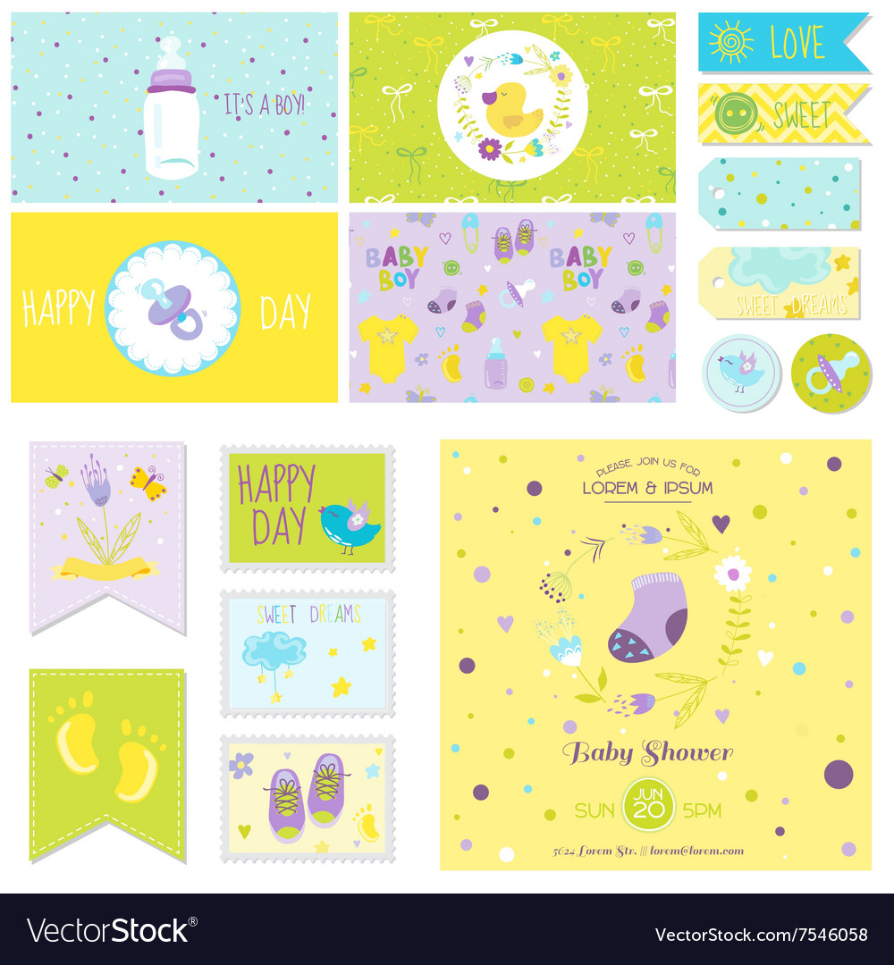 Baby Shower Little Boy Set - for Party Decoration vector image