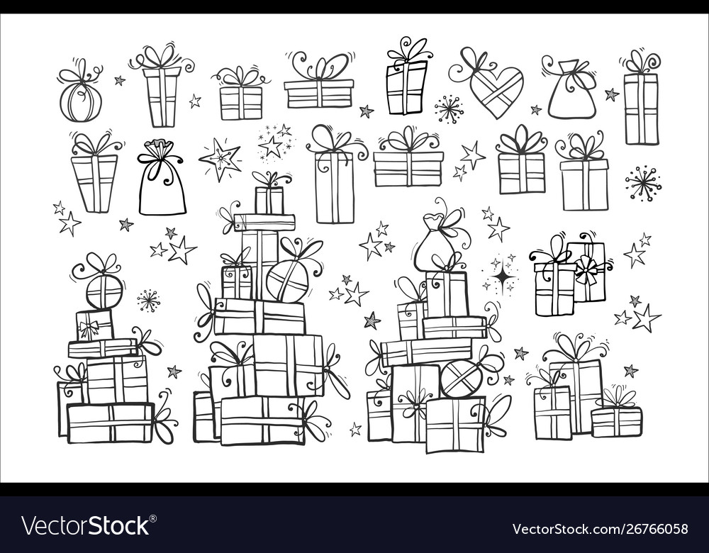 Big collection doodle gift boxes on white