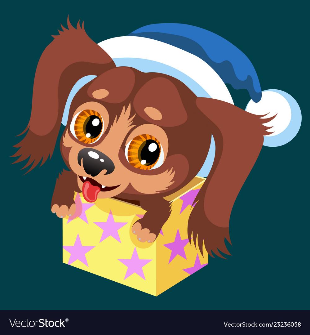 Cartoon brown puppy sitting in present box
