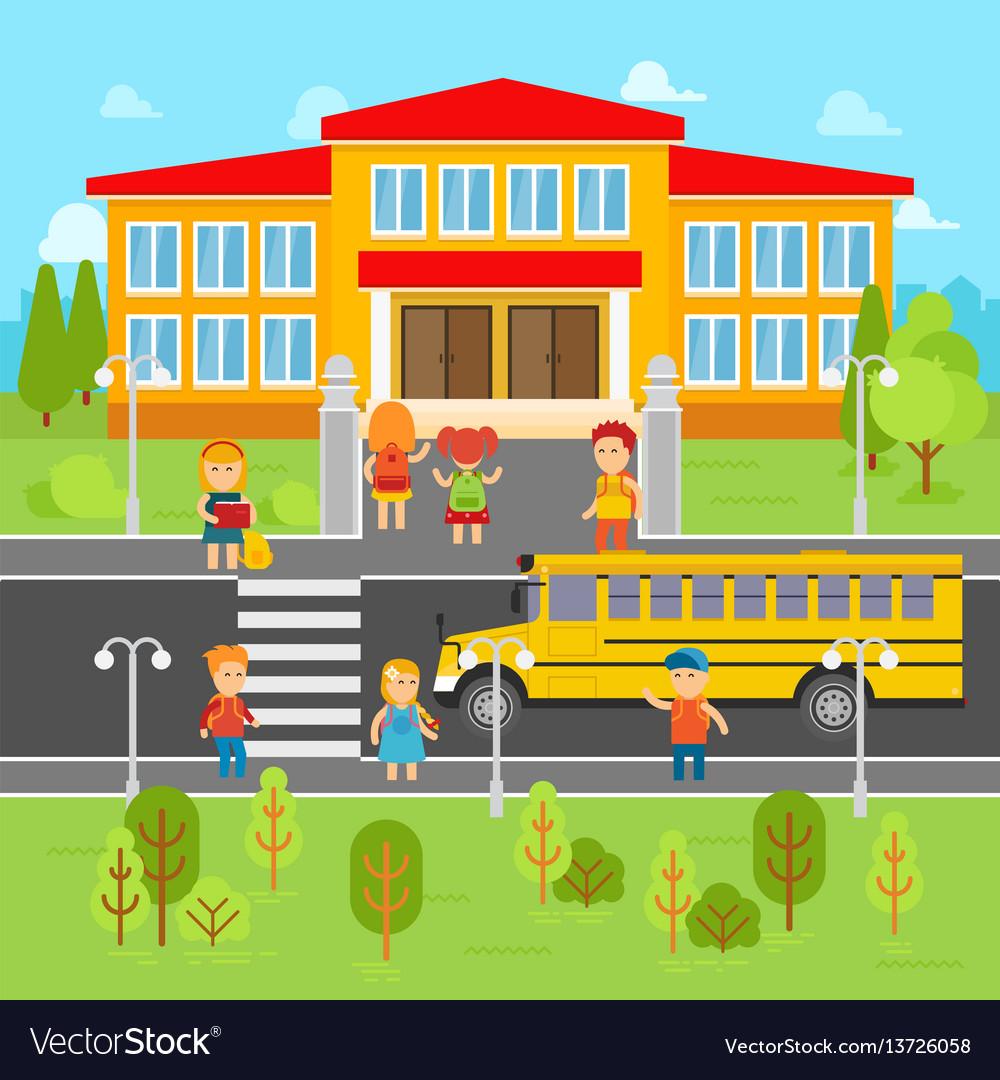 Children go back to school flat