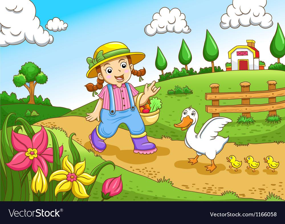 Cute little farmers girl at a farm Royalty Free Vector Image