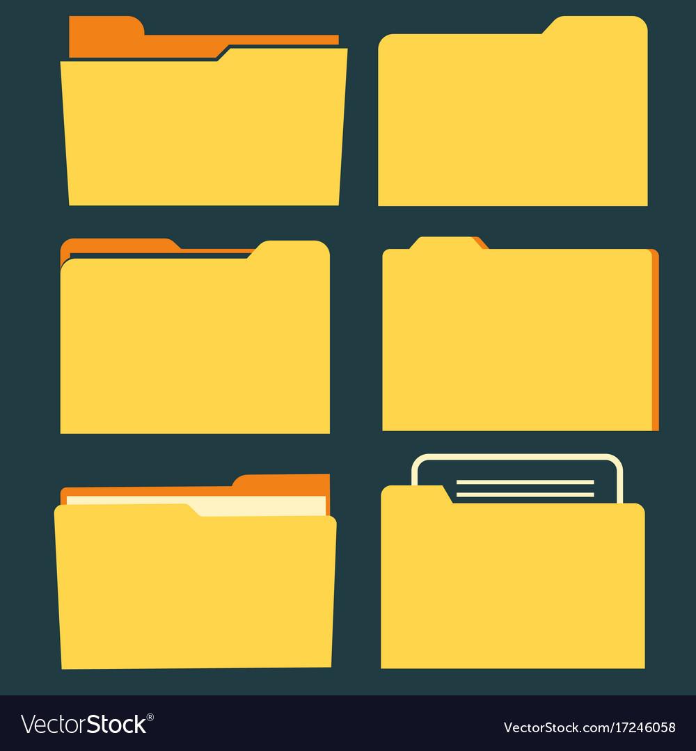 Documents folder icon set business document