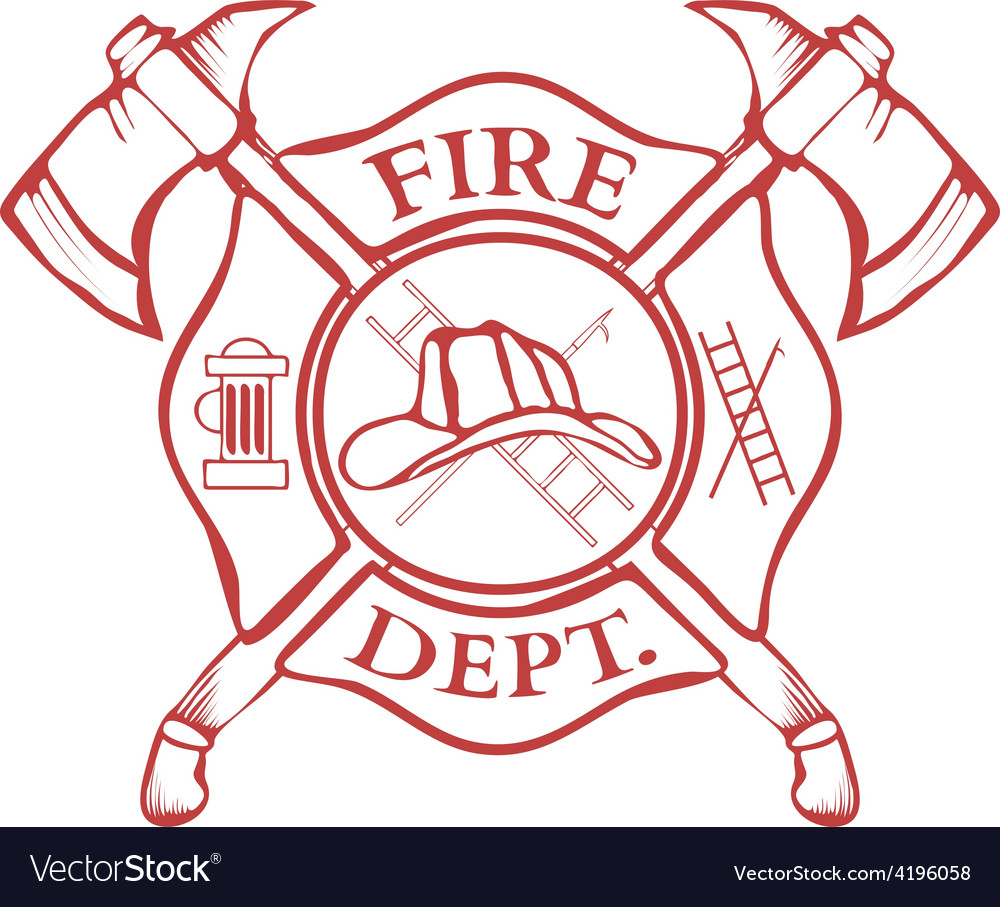 Fire Dept Label Helmet with Crossed Axes