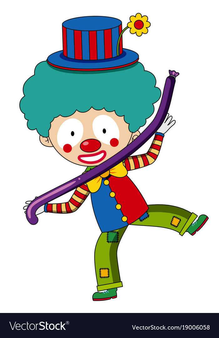 Happy clown with purple balloon