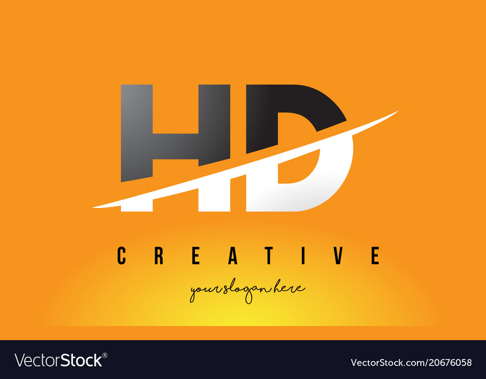 Hd h d letter modern logo design with yellow vector image thecheapjerseys Images