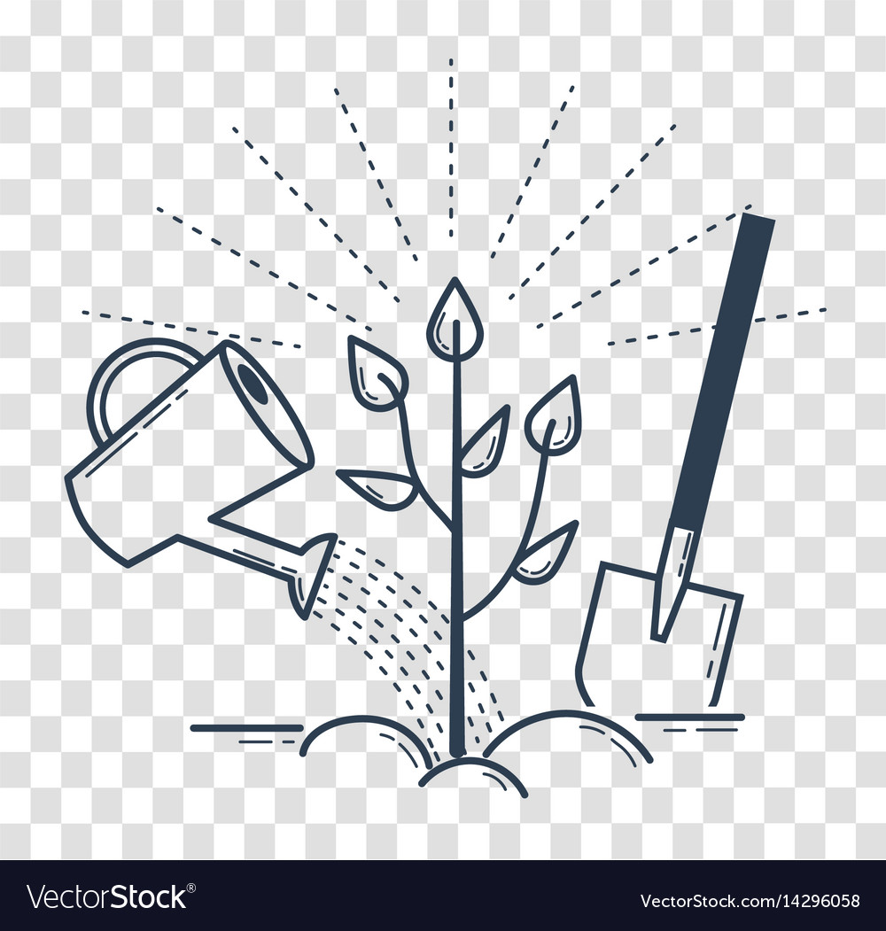 Icon tree planting landscaping black vector image