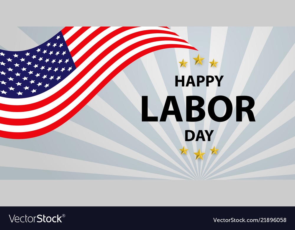 labor day card design american flag with vector image