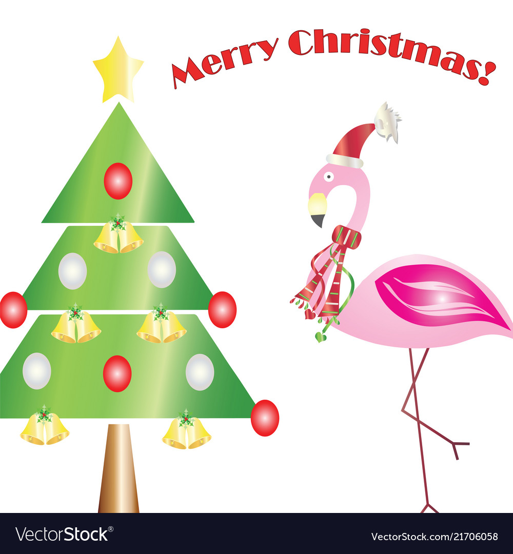 Merry christmas card with flamingo Royalty Free Vector Image