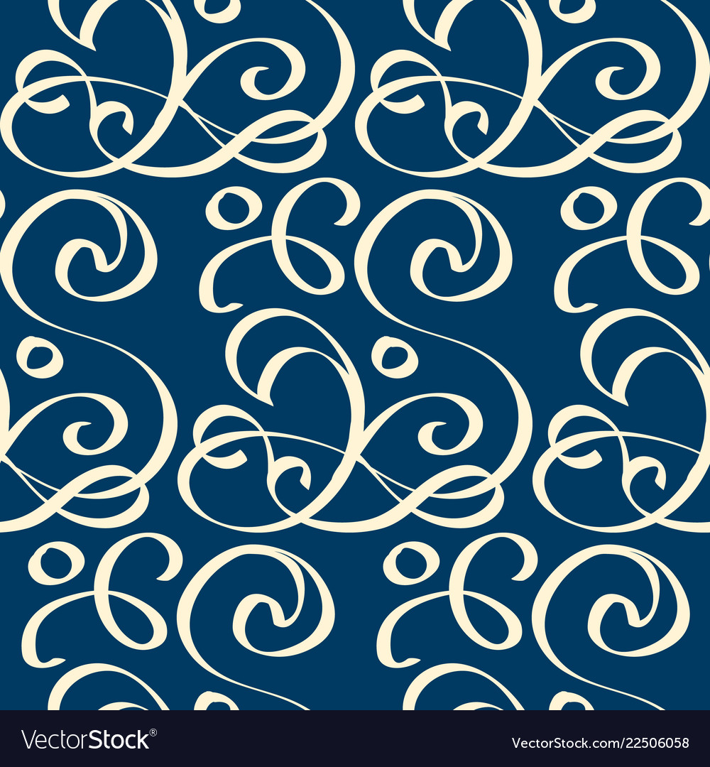 Seamless blue pattern with white writhing ribbons