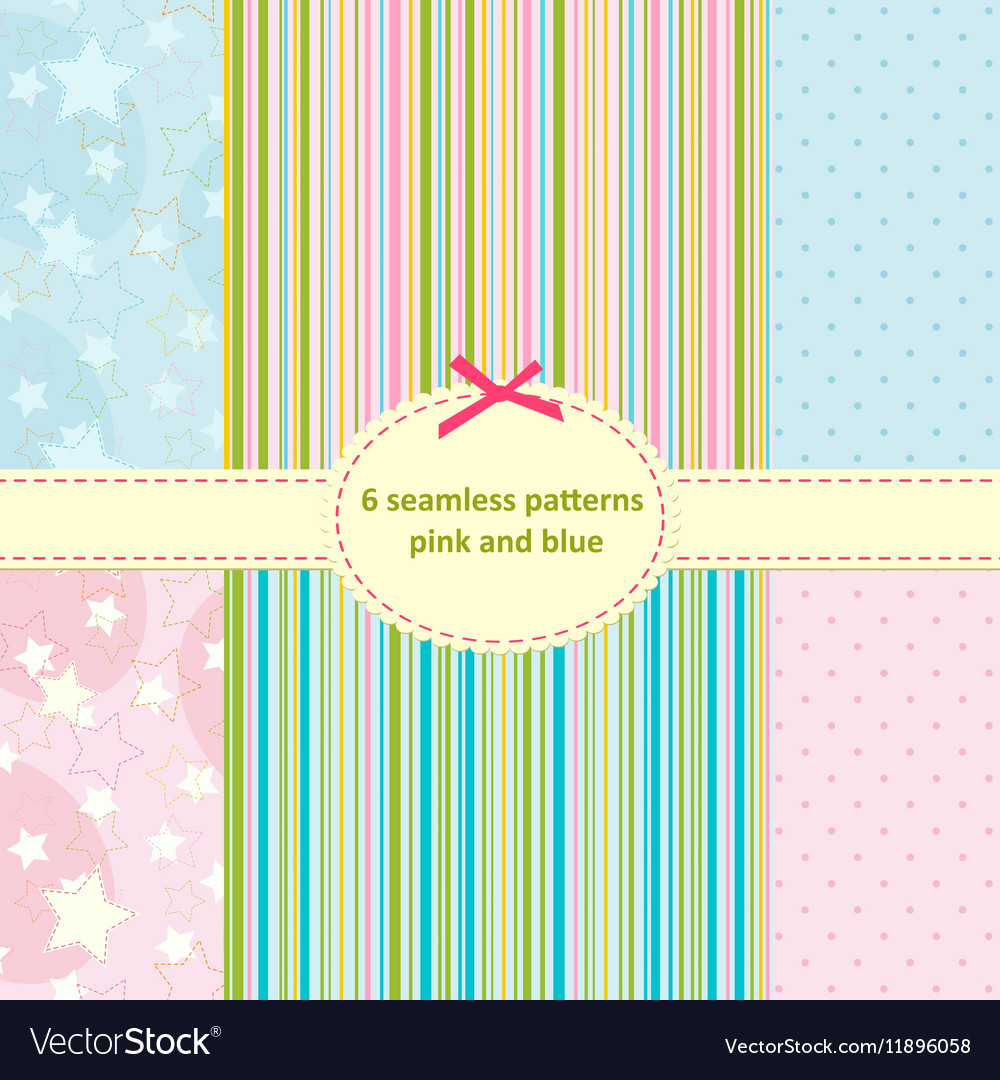 Set of seamless pattern of blue and pink vector image