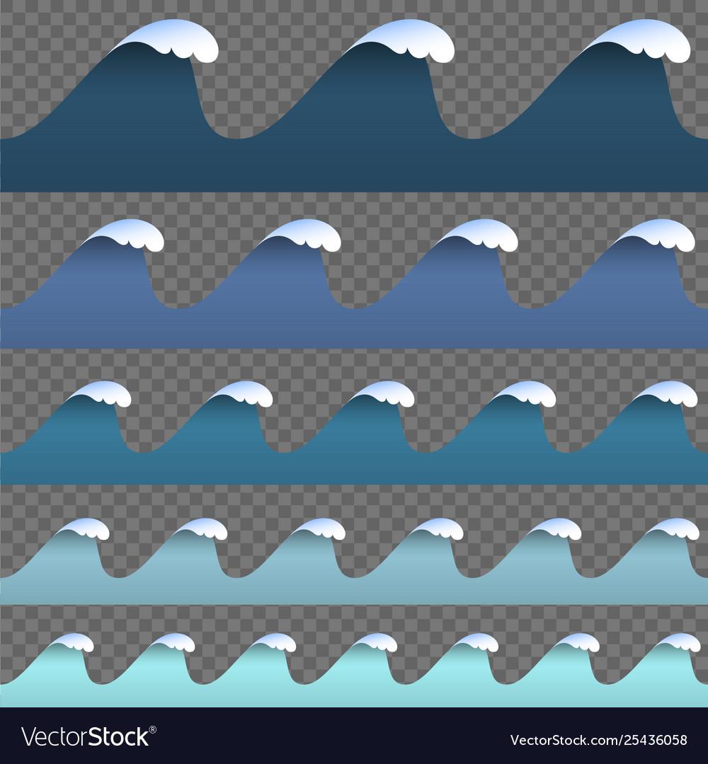 Set paper art cartoon blue abstract waves