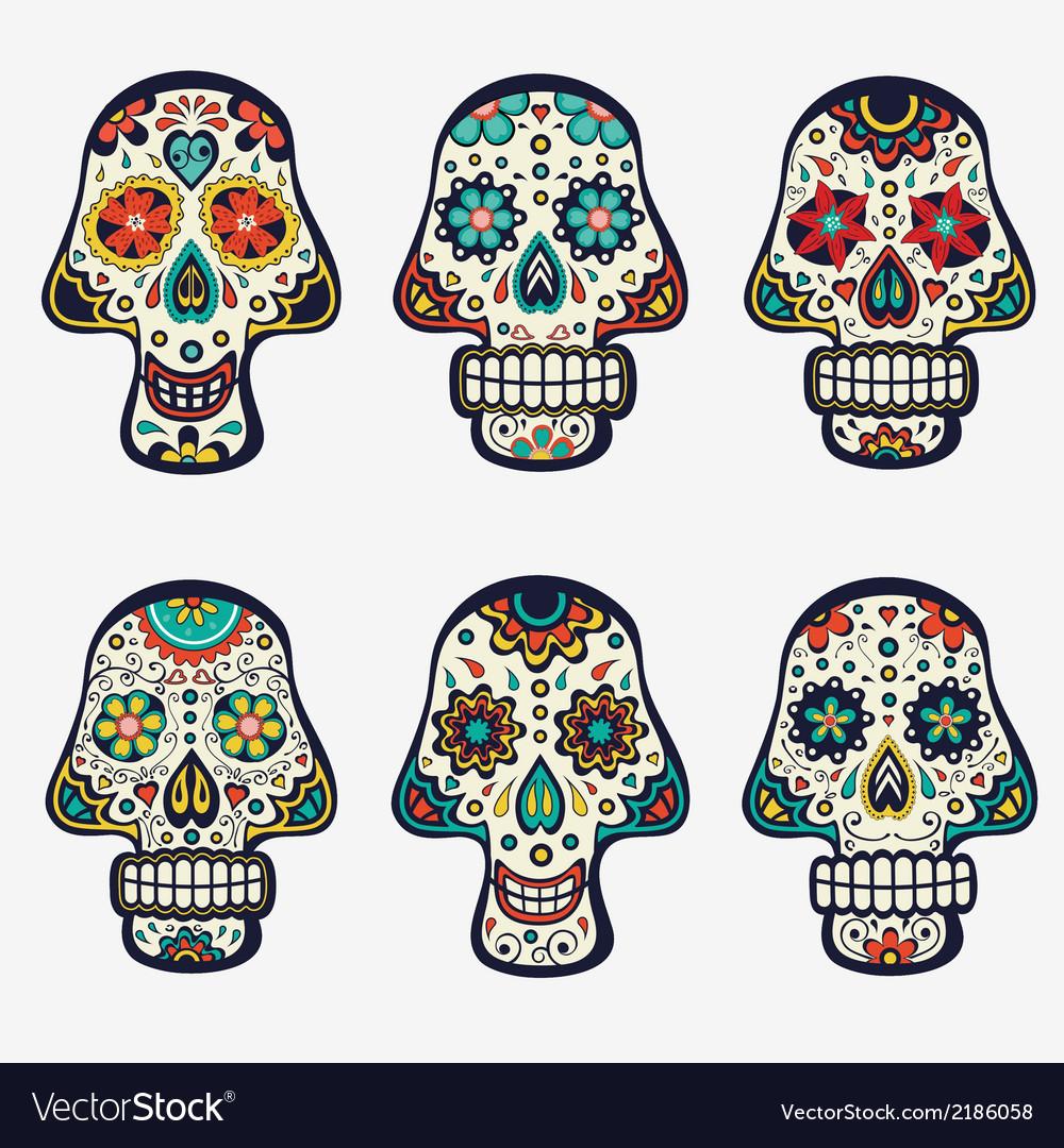 Sugar skulls collection vector image