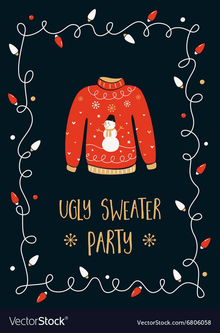 1f89f86a73 Ugly Sweater Party Invitation Card Royalty Free Vector Image