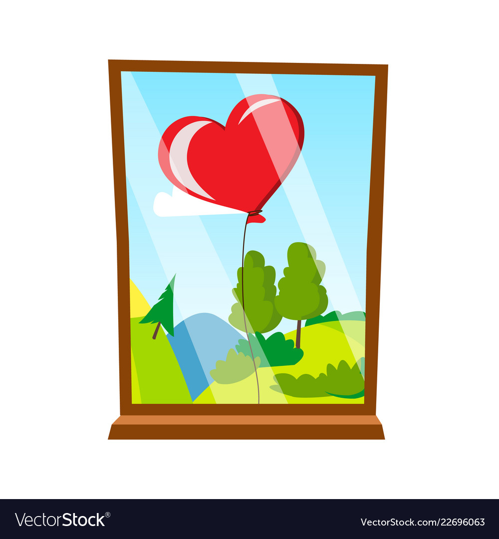 Balloon in the form of heart outside the window