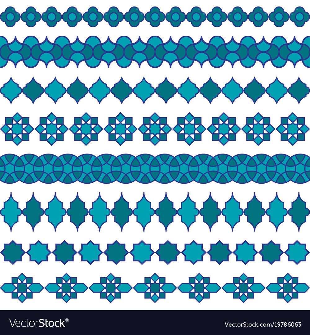 Blue moroccan border patterns vector image