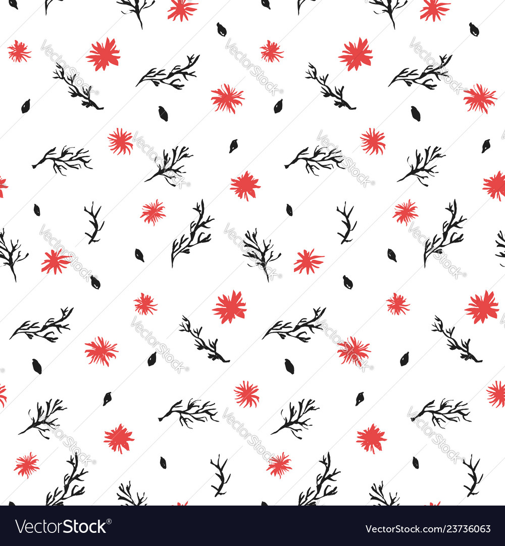Contrast black and red ink flowers pattern
