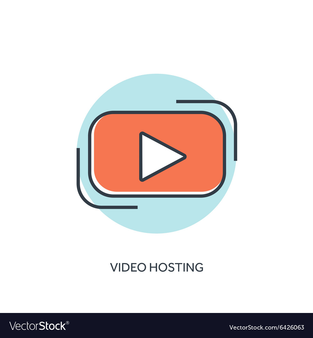 Flat lined play icon Video hosting