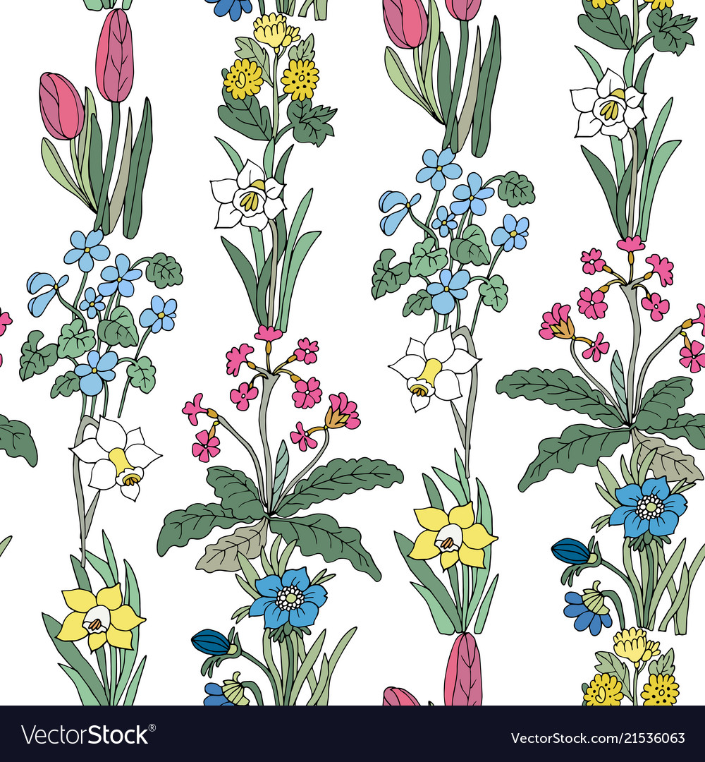 Flowers seamless pattern collection set design