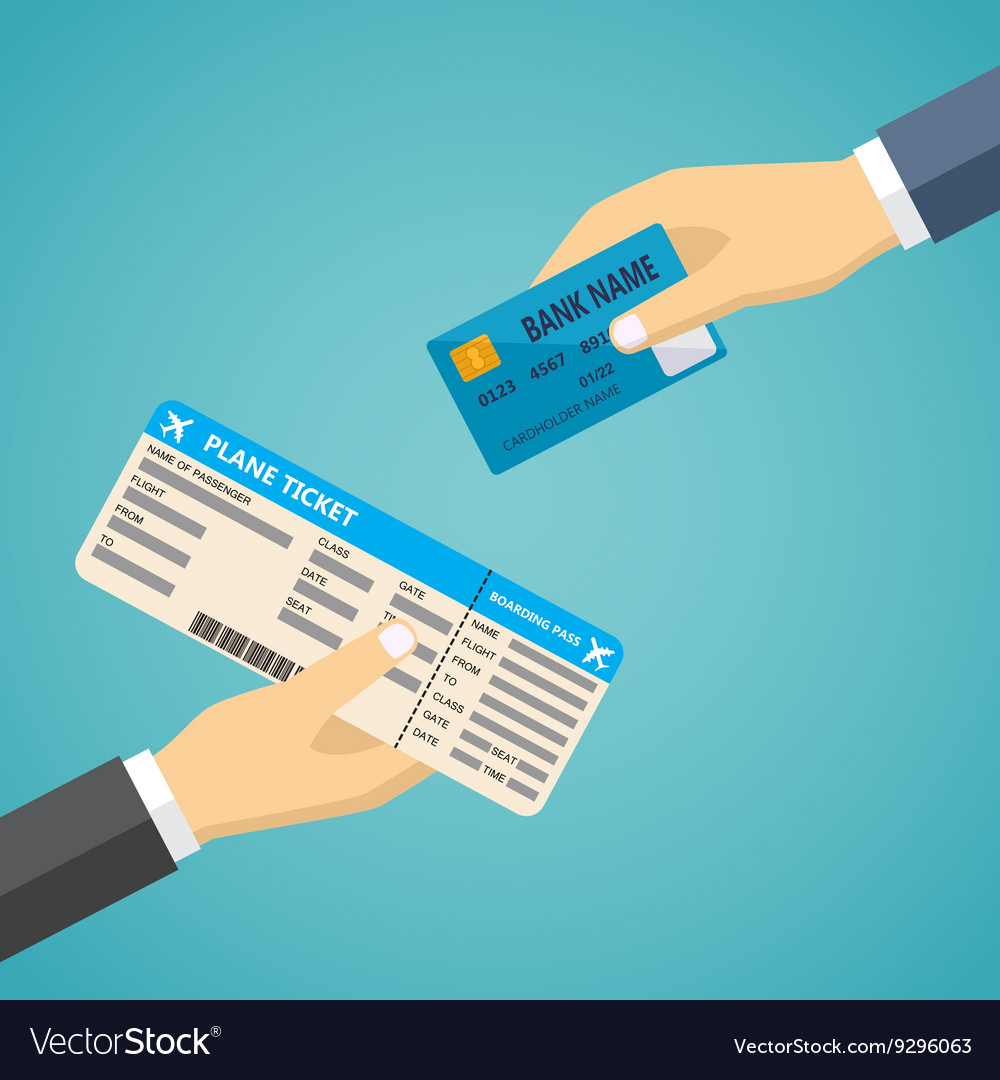 Hand with credit card and hand with boarding pass
