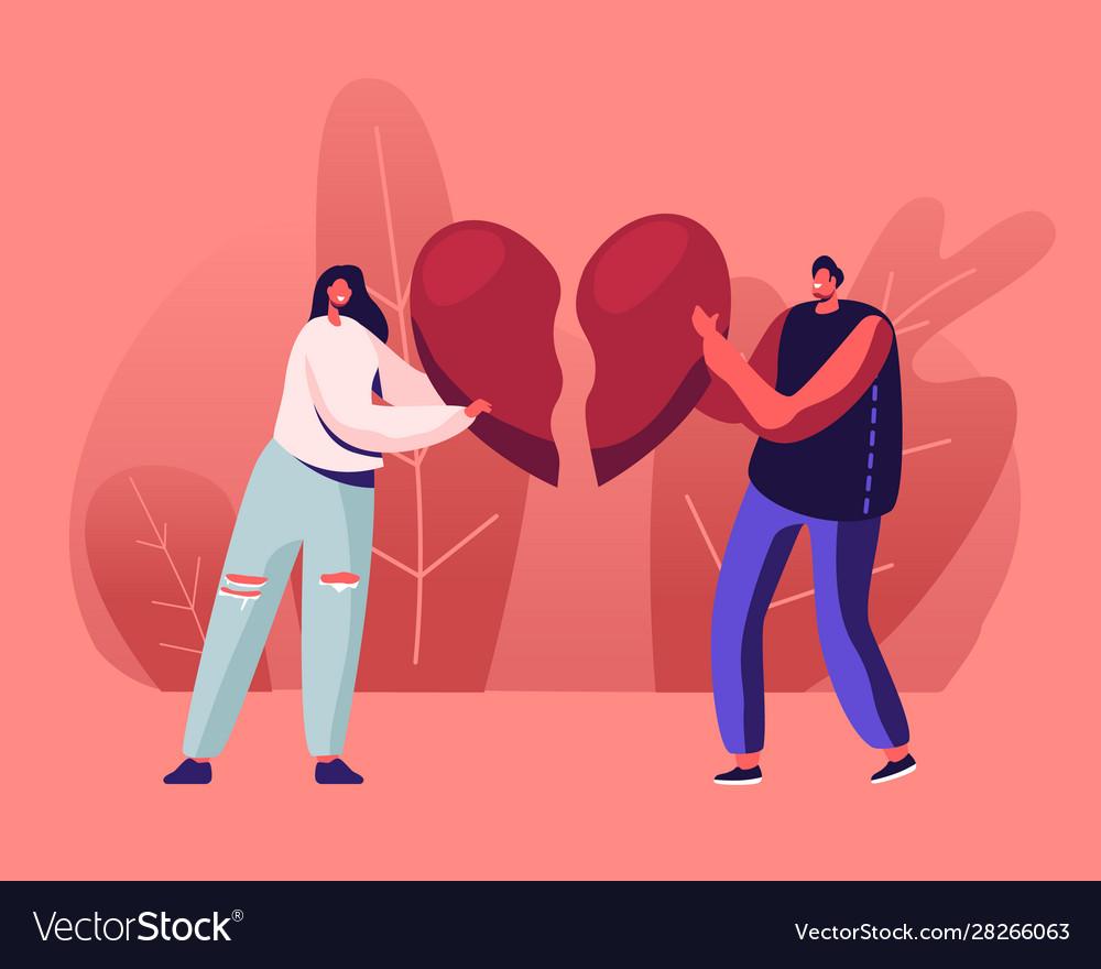 Heartbroken Couple Parting Divorce Sad Young Man Vector Image