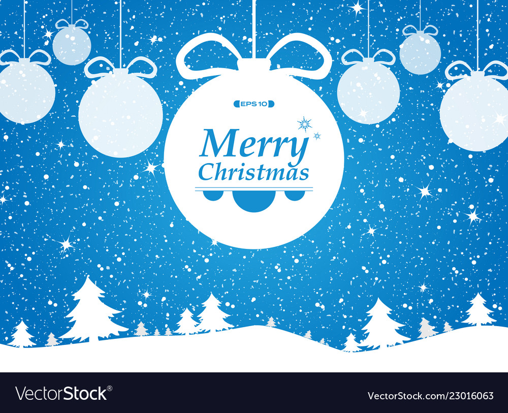 Merry christmas of blue background in forest