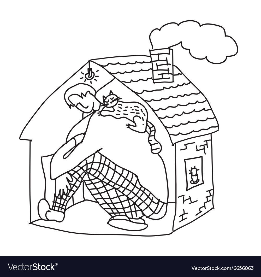 Small home young man black and white