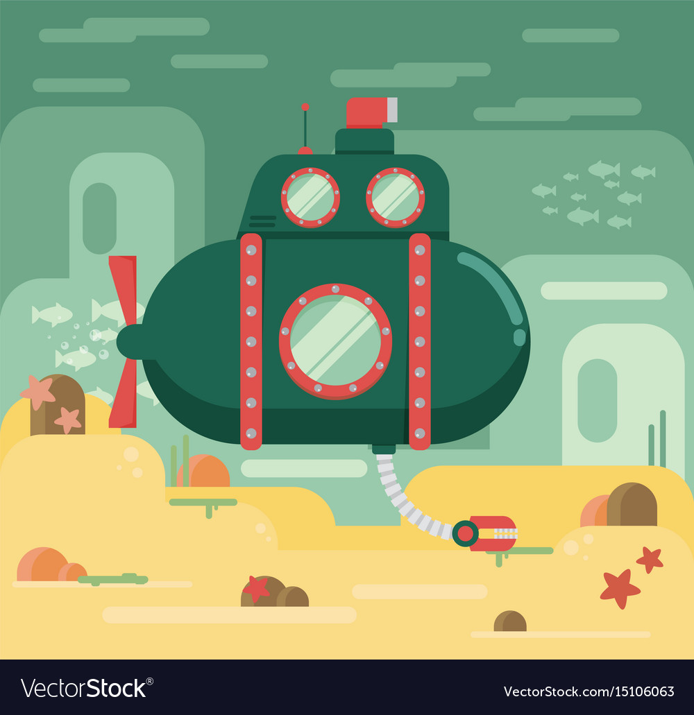 Submarine under water concept flat vector image