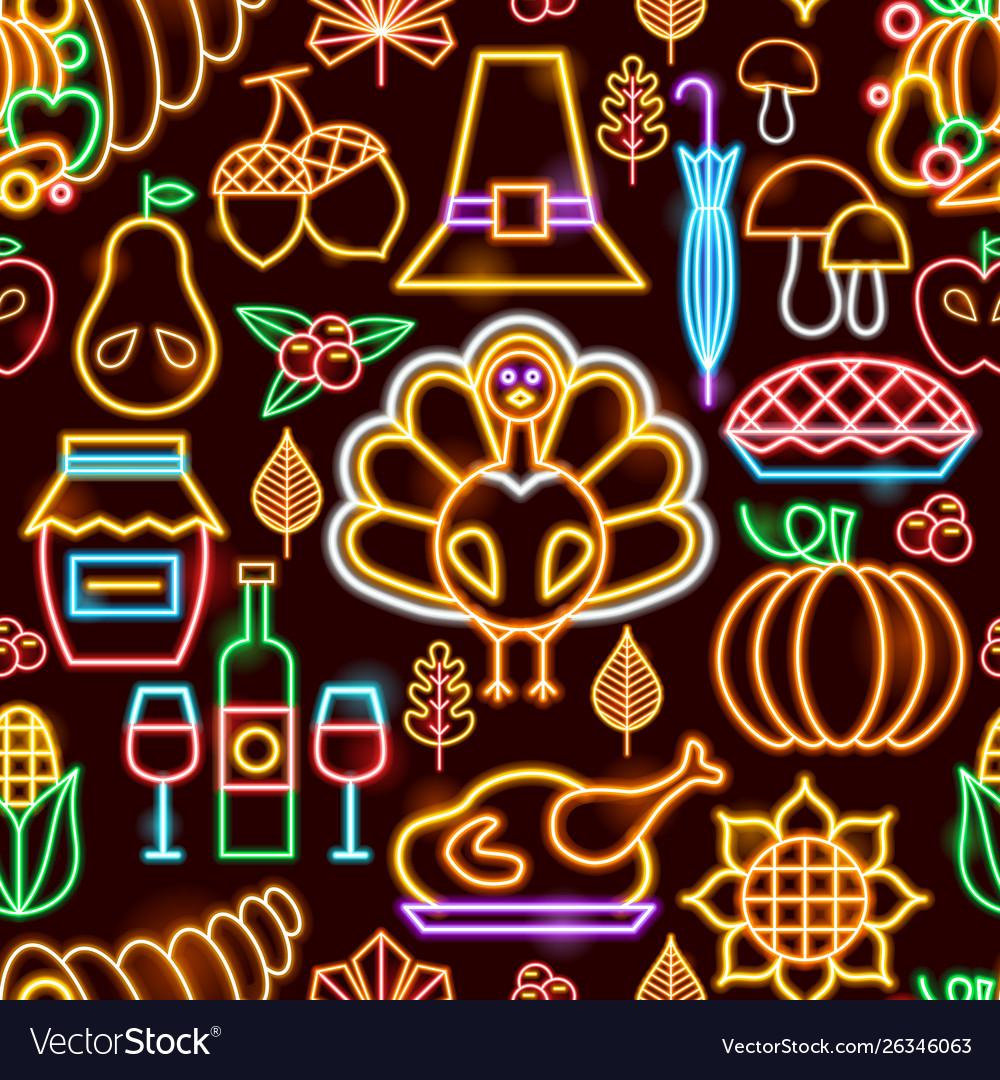 Thanksgiving neon seamless pattern