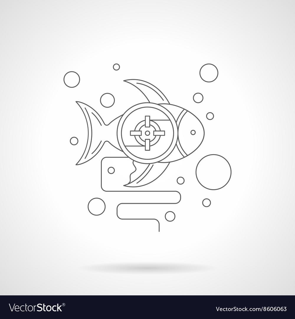 Underwater photo hunt detailed line icon