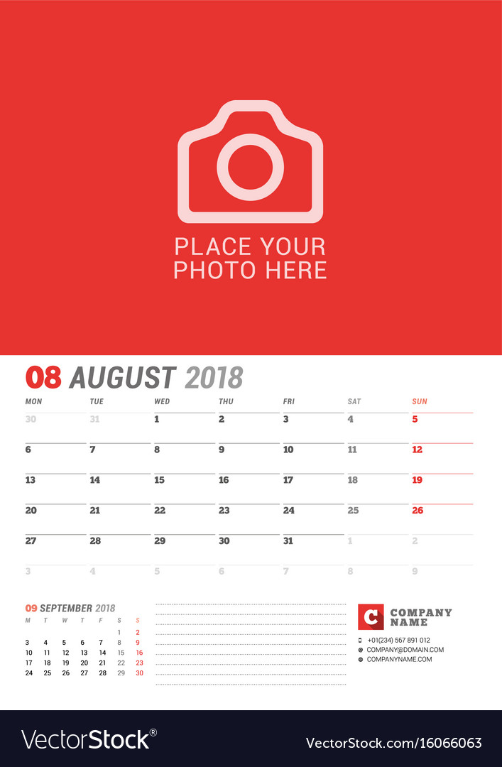 Wall calendar planner for 2018 year august print