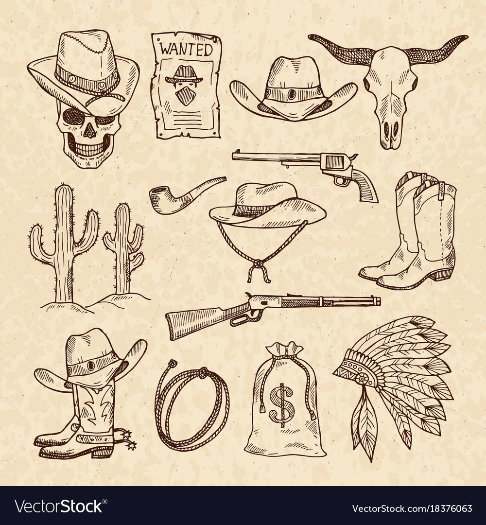 Western symbols cowboy guns saloon and other