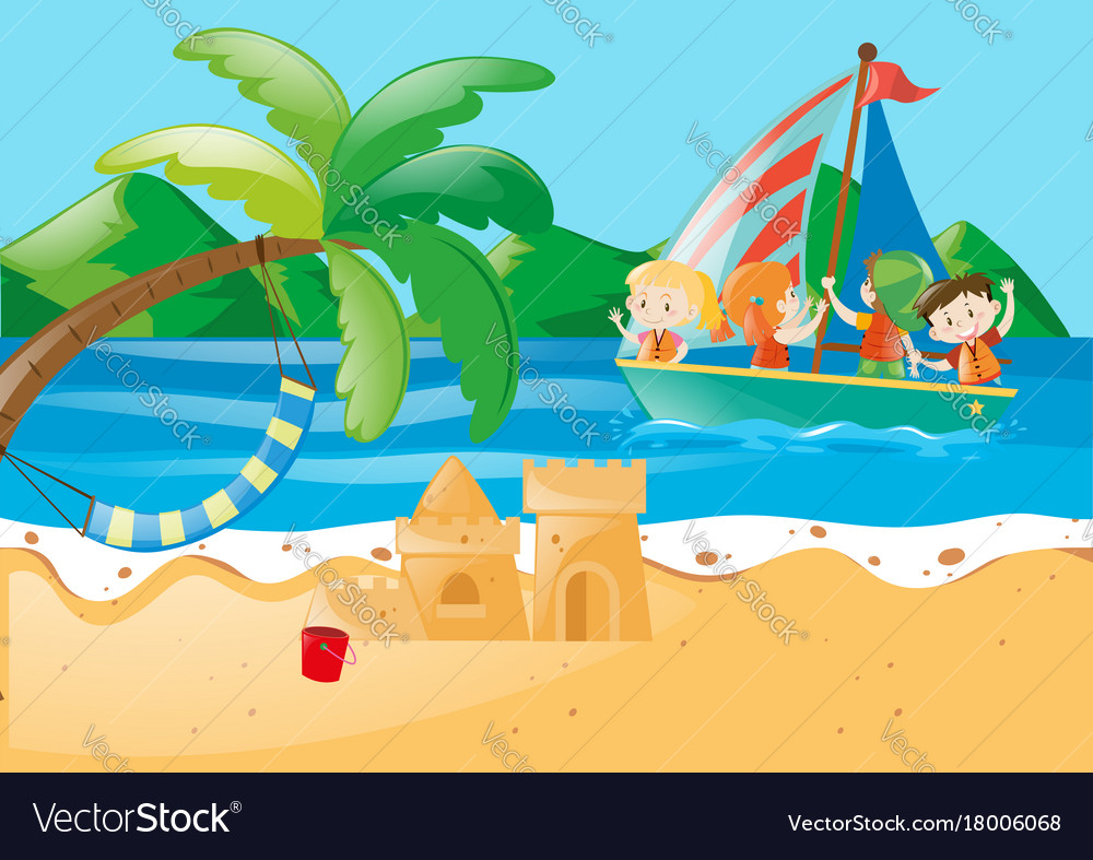 Beach Scene With Kids On The Sailboat Vector Image