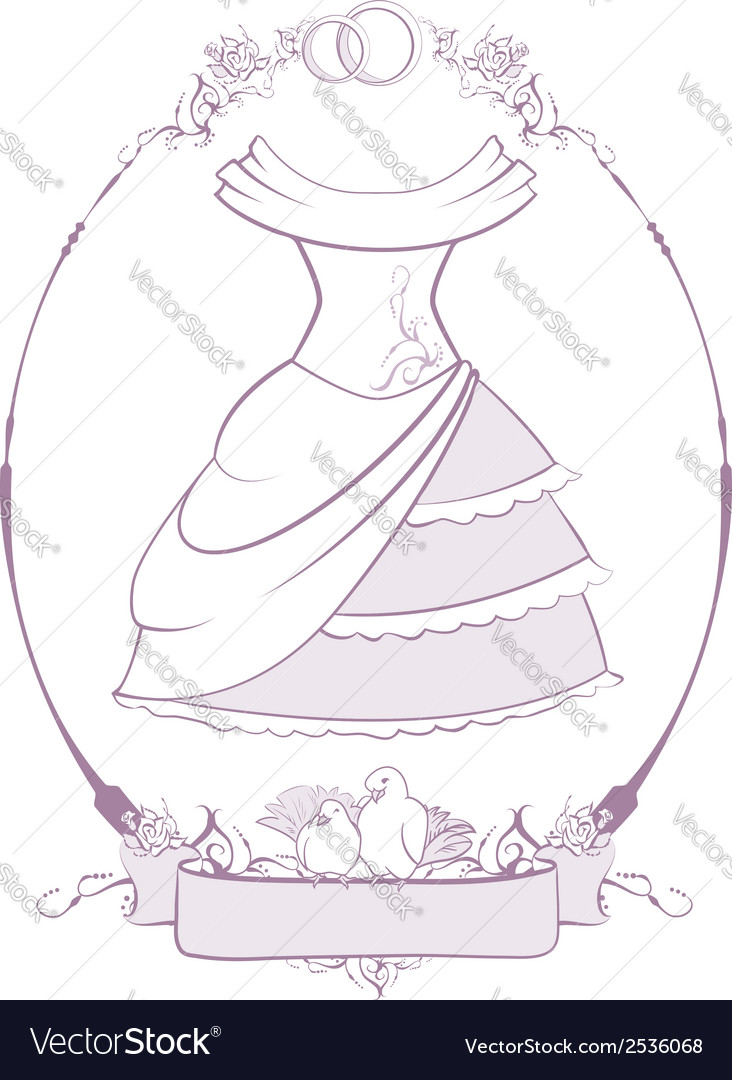 Bride wedding dress in frame Royalty Free Vector Image