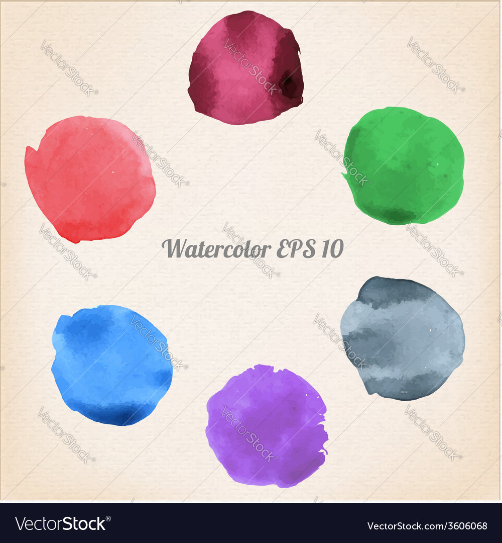 Colorful isolated watercolor paint circles