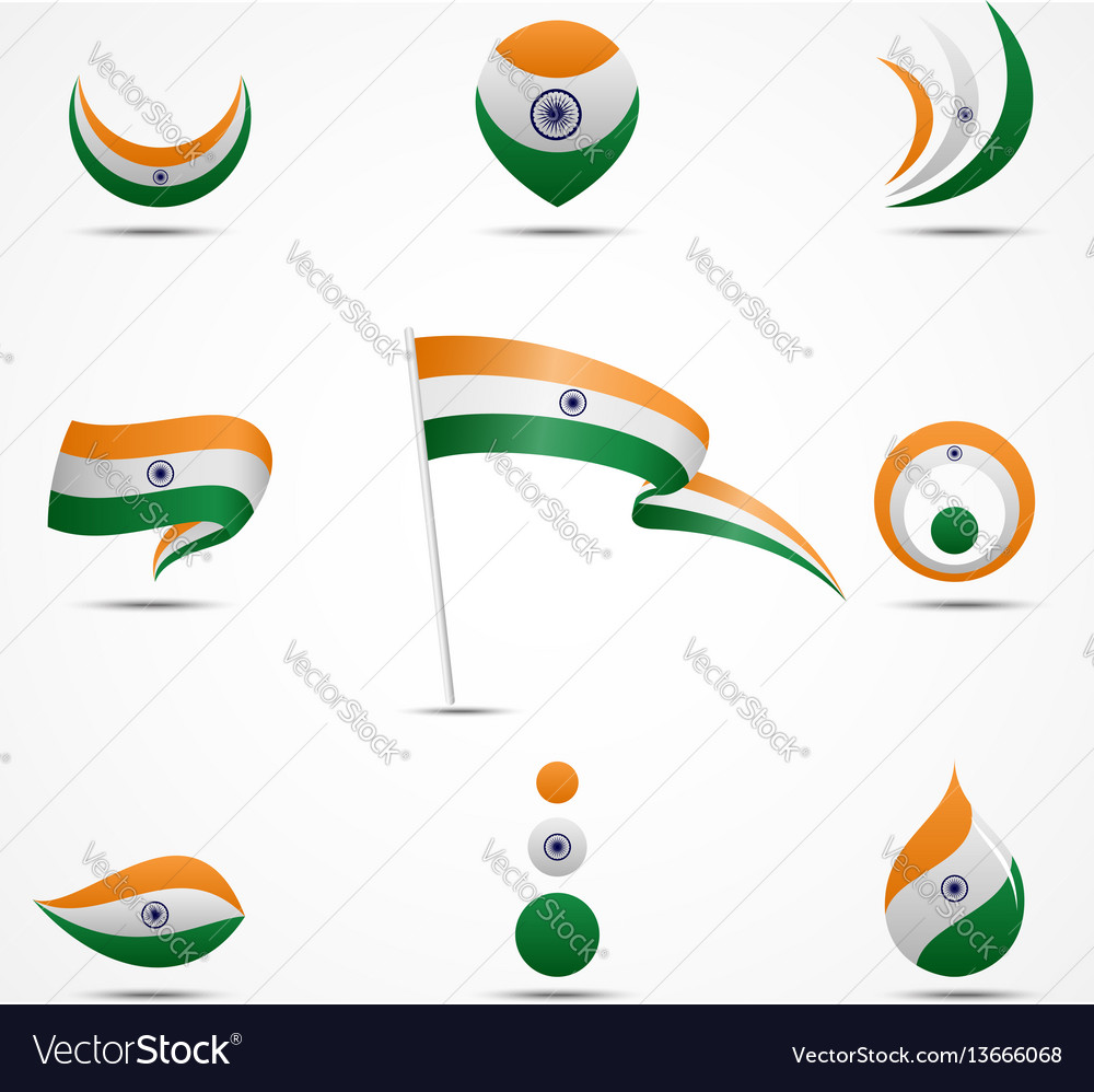 Flags and icons of india