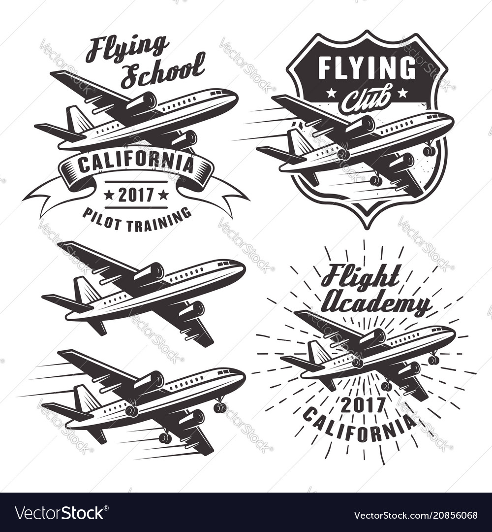 Flying school emblems with airplane